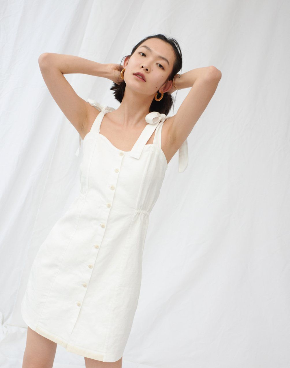 Tie Strap Button Front Sundress In Pure White Button Front Sundress Dress Clothes For Women Fashion [ 1276 x 1004 Pixel ]