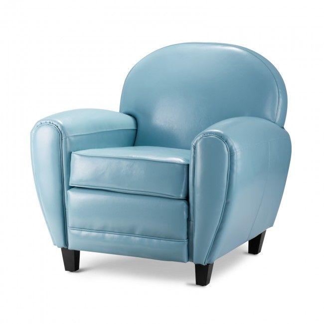 Bradley Light Blue Faux Leather Club Armchair