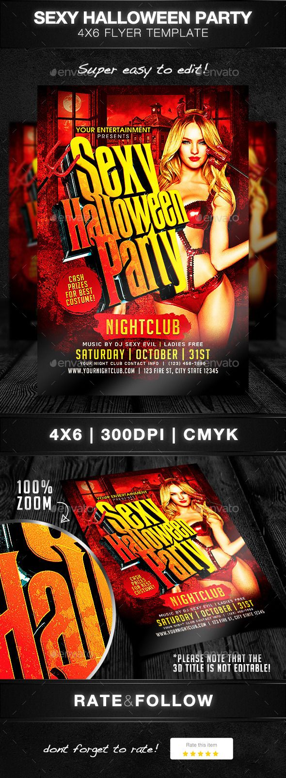 Sexy Halloween Party | Halloween party flyer, Flyer template and ...