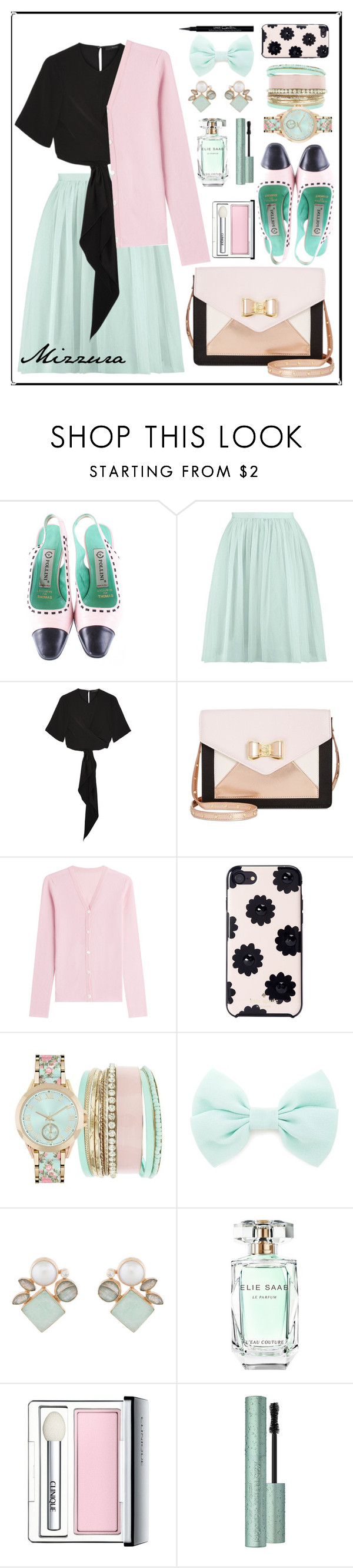 """Untitled #64"" by mizzura ❤ liked on Polyvore featuring Pollini, Boohoo, E L L E R Y, Betsey Johnson, Lucien Pellat-Finet, Kate Spade, Jessica Carlyle, Forever 21, Atelier Mon and Elie Saab"