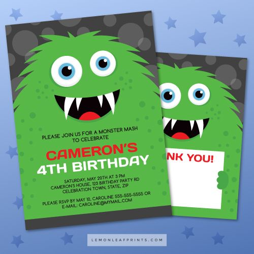 Monster party invitations with green monster Green monsters