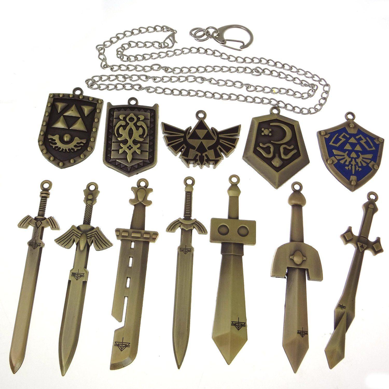 the legend of zelda schwert schild waffe halskette pendant