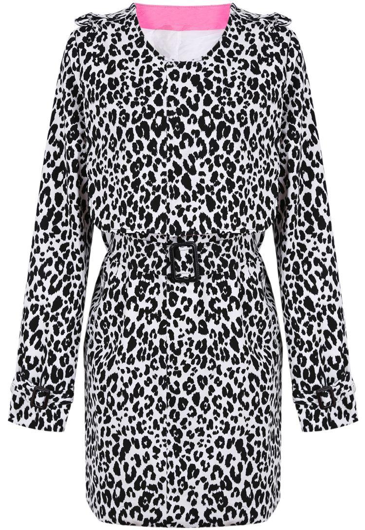 Abrigo leopardo cuello redondo con cinto-Negro EUR€32.09