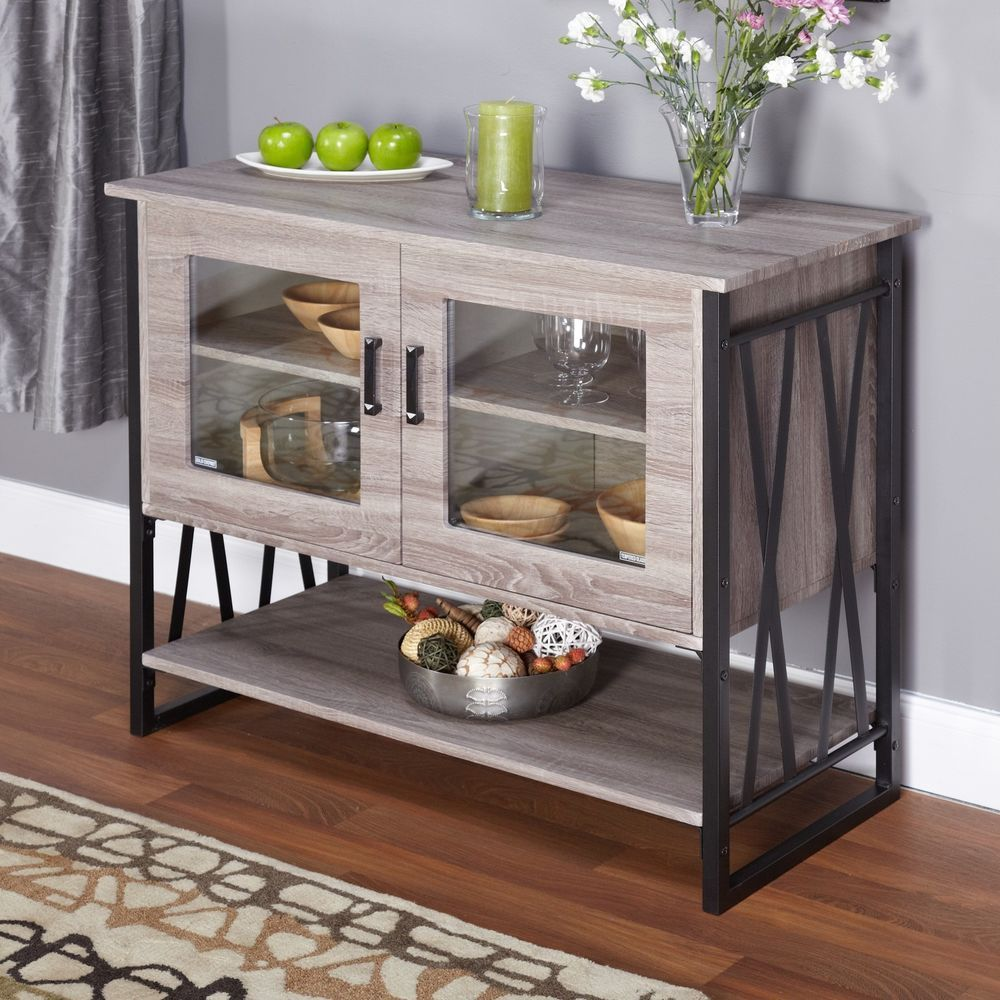 Buffet Table Sever W Storage Kitchen Gl N Dish Display Cabinet New Simpleliving