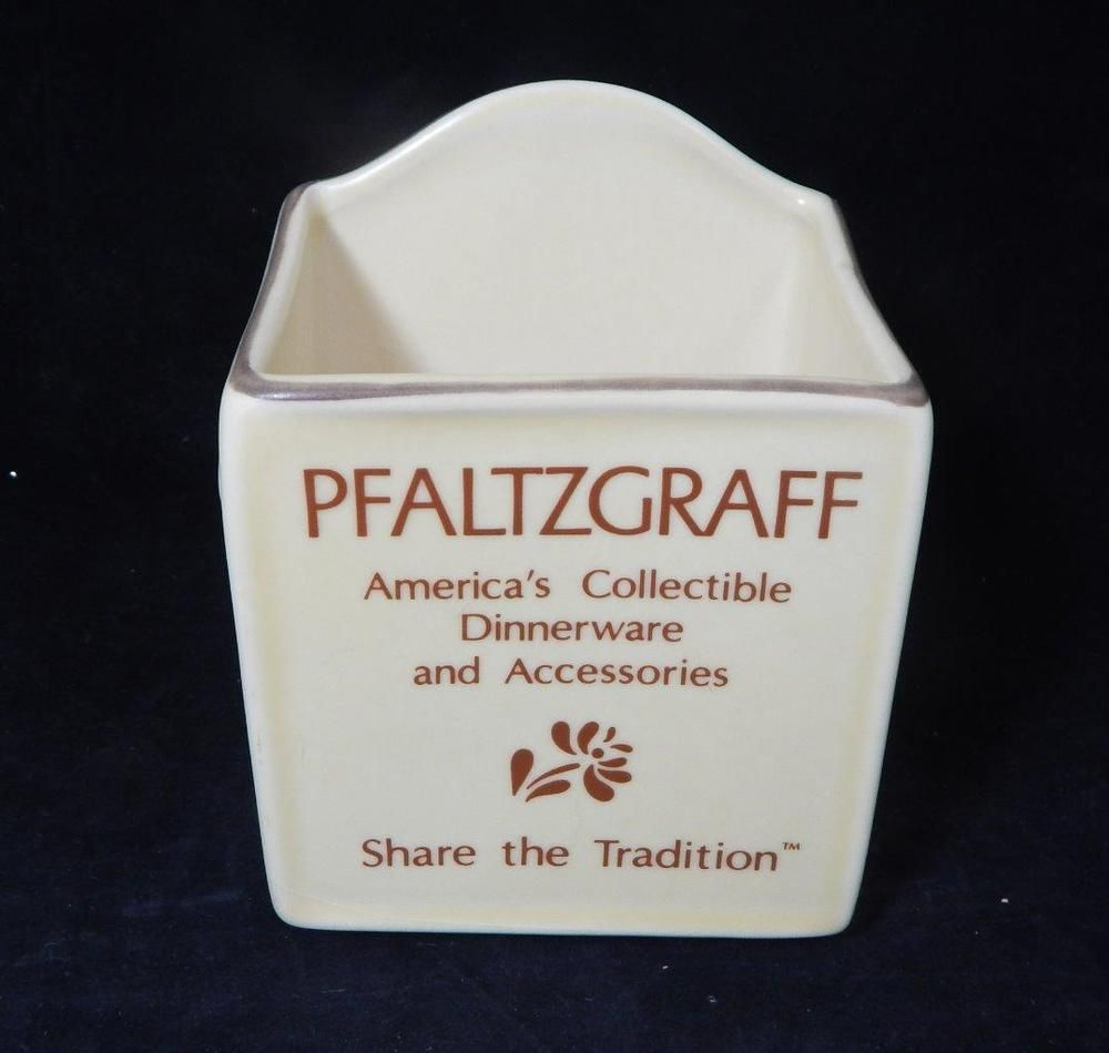 VTG 1980s Pfaltzgraff Village Brown on Cream Retail Brochure Holder RETIRED
