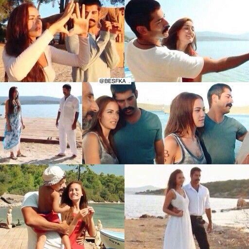 Fahriye Evcen Burak Ozcivit Ask Sana Benzer Behindthescene Burak Ozcivit Behind The Scenes Couple Photos