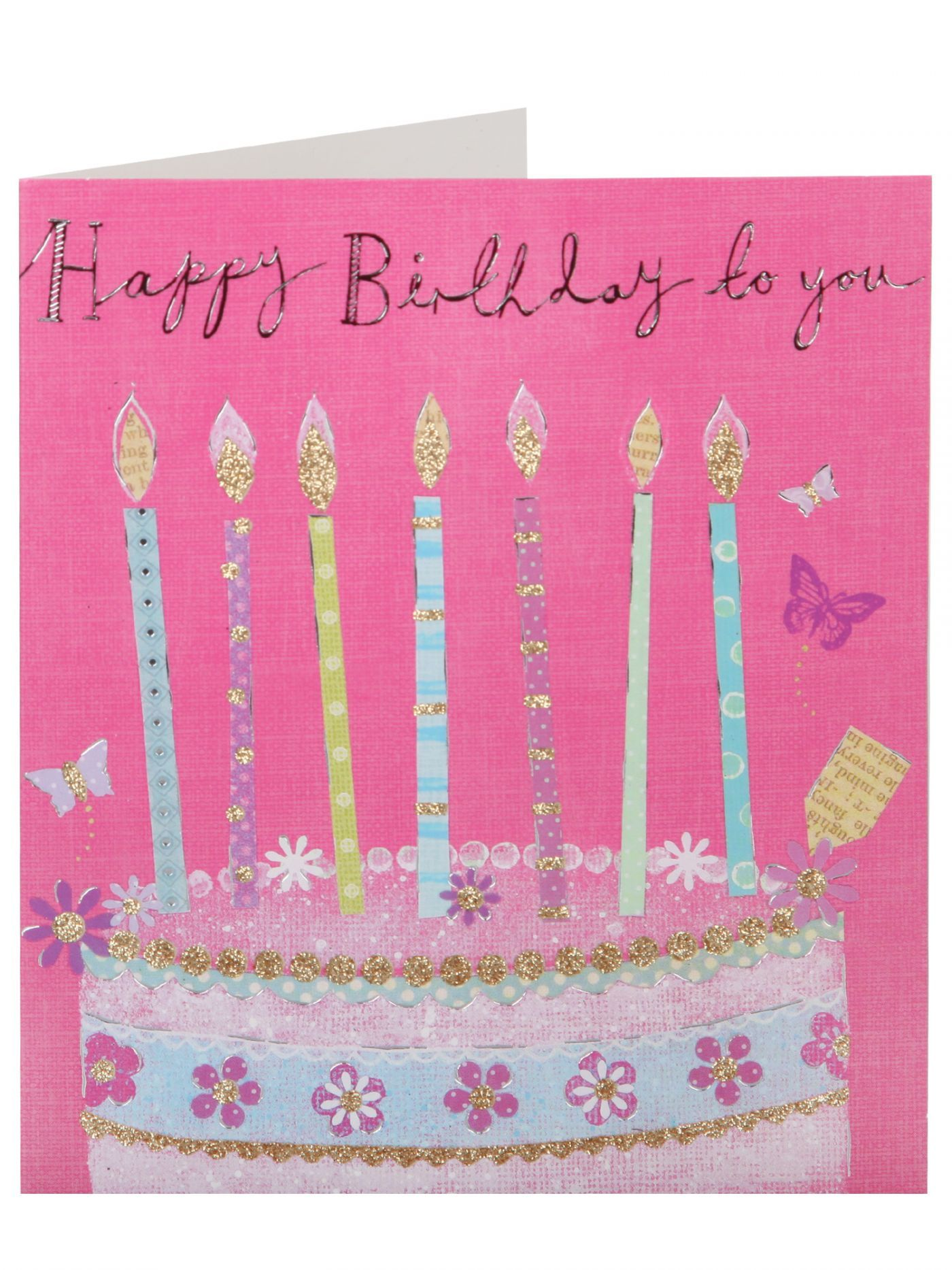 Cake with Candles Birthday Card General Birthday Birthday – Birthday Cards Clintons