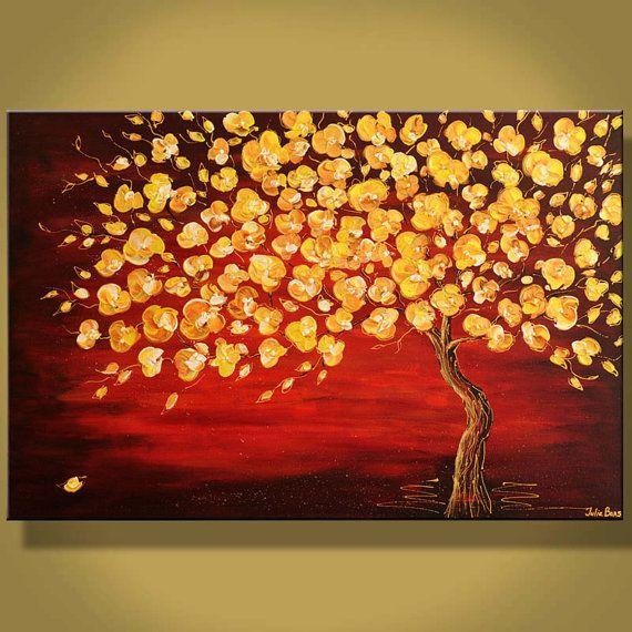 Large Original Painting Blooming Tree Golden Blossom Red Gold Landscape Modern Art 36 Thick Texture Palette Knife Art By Juli Diy Canvas Art Painting Tree Art