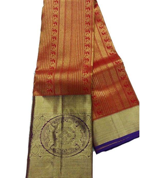 Red Handloom Kanjeevaram Silk Saree