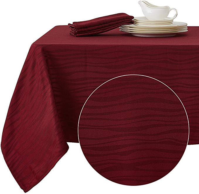 Amazon Com Deconovo Decorative Jacquard Tablecloth Wrinkle And Water Resistant Spill Proof Rectangle Table Waterproof Tablecloth Table Cloth Wrinkle Resistant