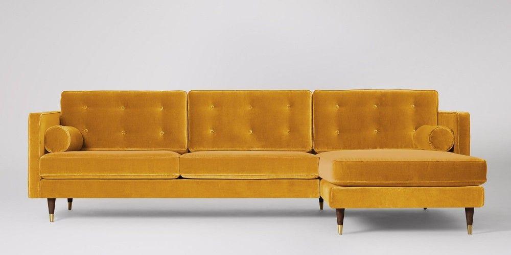 Porto Velvet Corner Sofa Sofa Mustard Sofa