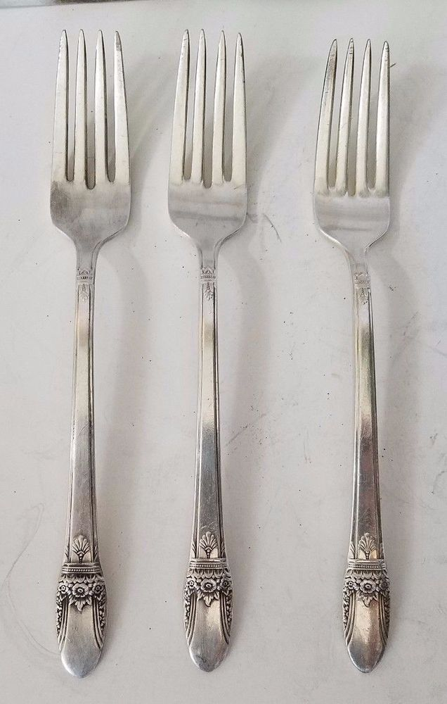 1847 Rogers Bros DAFFODIL Silverplate Teaspoons Set of 4 Spoons Lot Floral