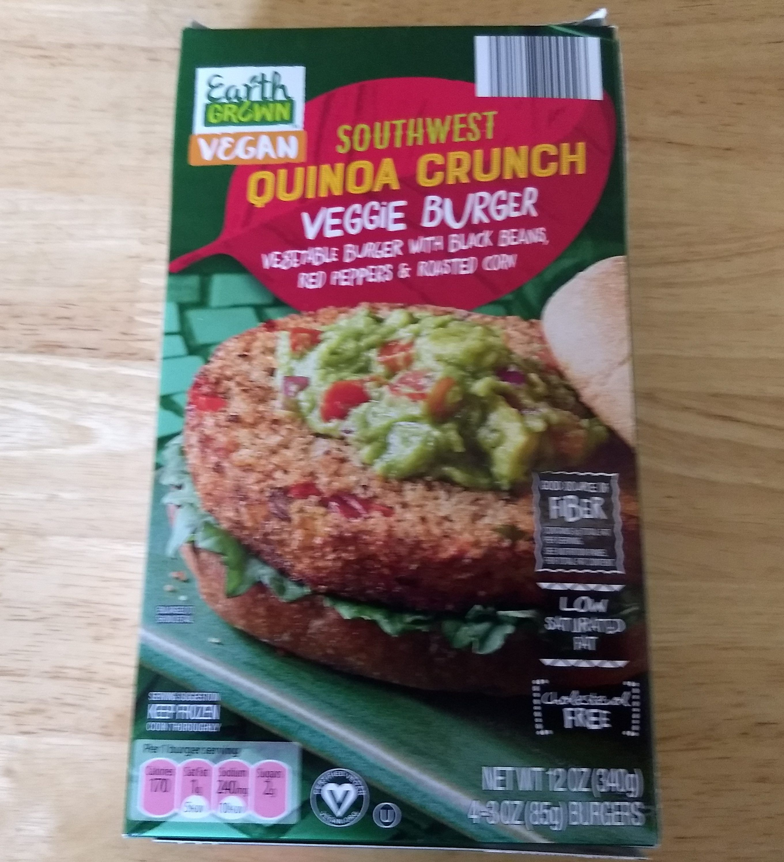 Earth Grown Vegan Southwest Quinoa Crunch Veggie Burger Healthy