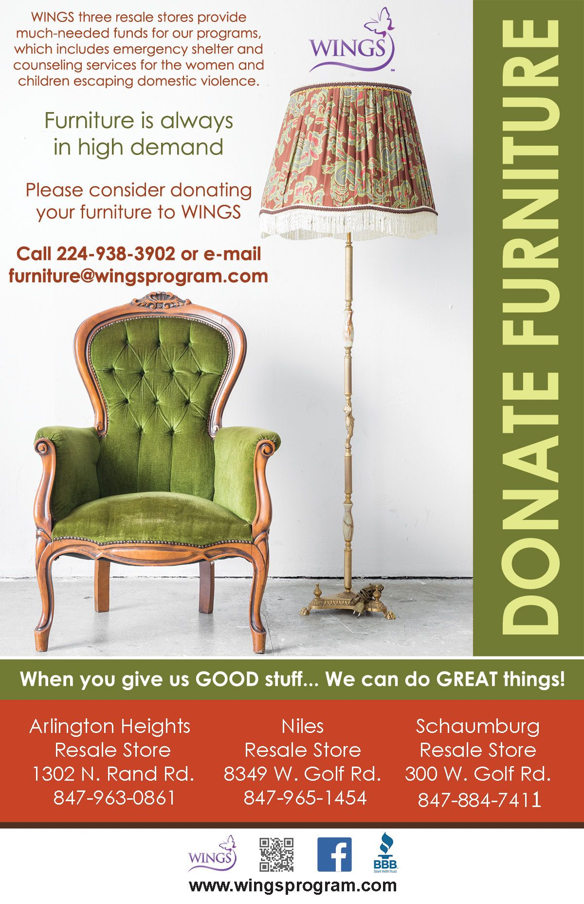 Donate Furniture To Wings Resale Donation Resale Goodcause