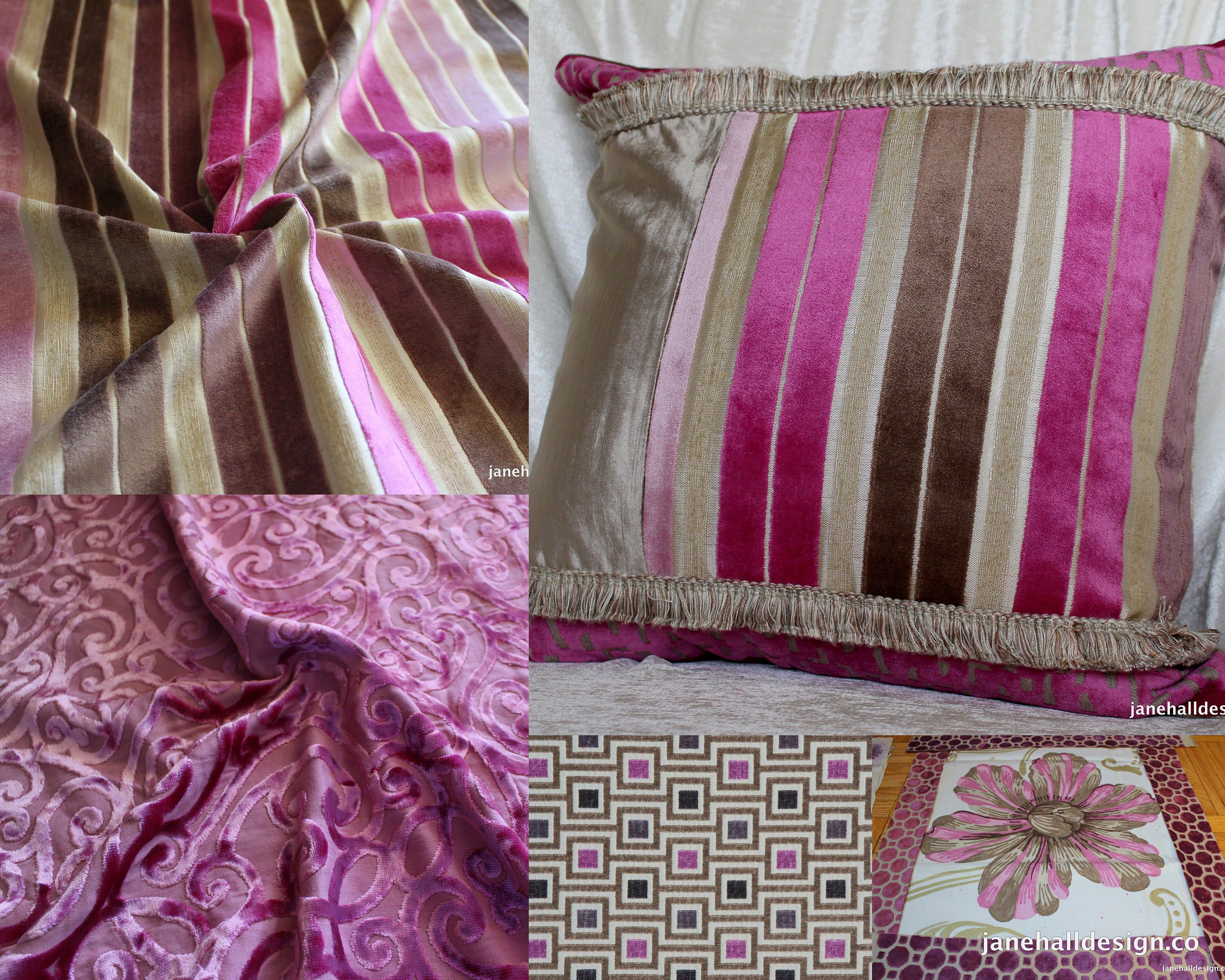 Designers Guild, Regence Peony Pink and Taupe, Cut Velvet Upholstery Fabric, From Jane Hall Design