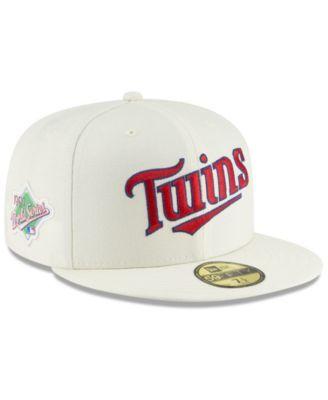 727f772b40f60a New Era Minnesota Twins Vintage World Series Patch 59FIFTY Cap - White 7 1/2