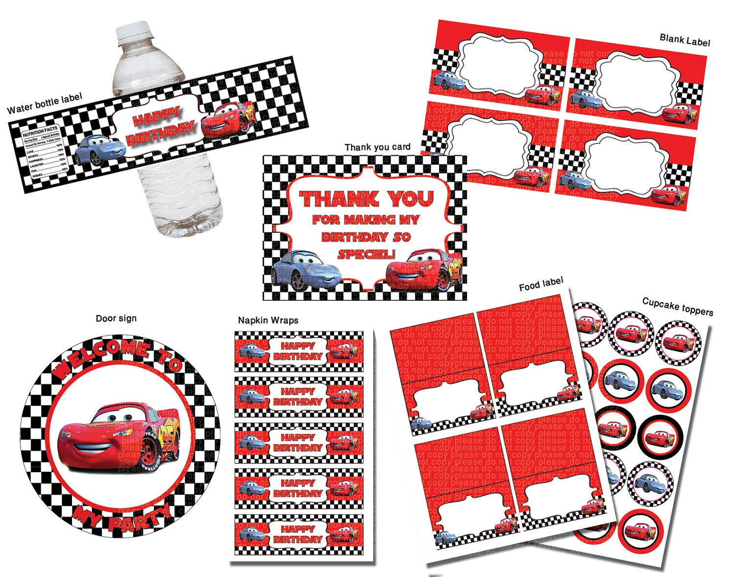 Cars Disney Birthday Party Package Printable Set Non