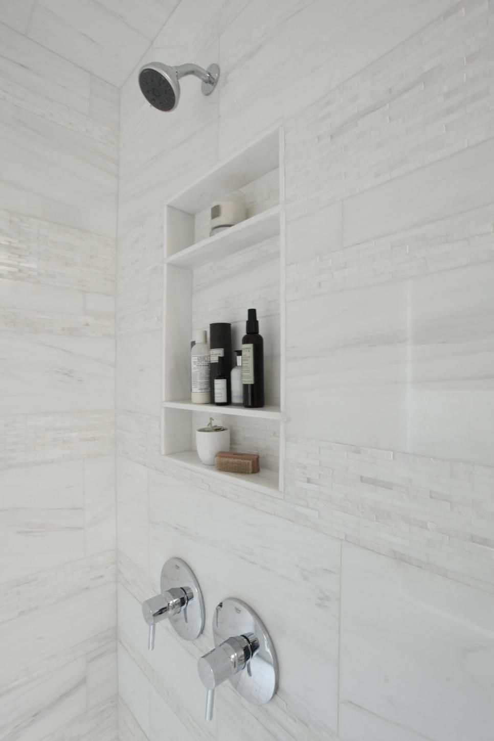 Pleasant Modern White Shower Features Inset Shelves Mosaic Tile Download Free Architecture Designs Jebrpmadebymaigaardcom