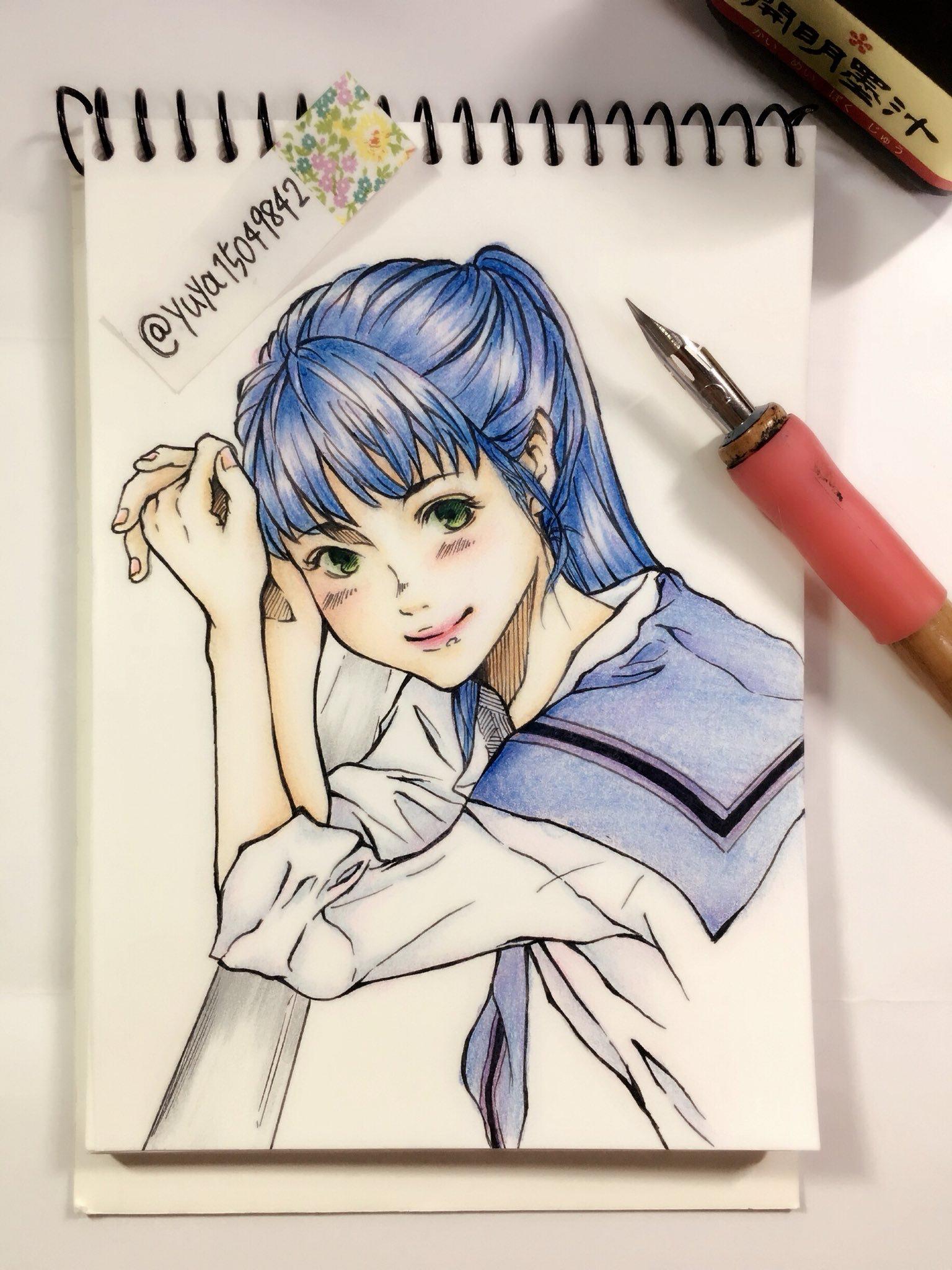 写真デフォルメ 女の子 色鉛筆 イラスト Female Sketch Drawings Art