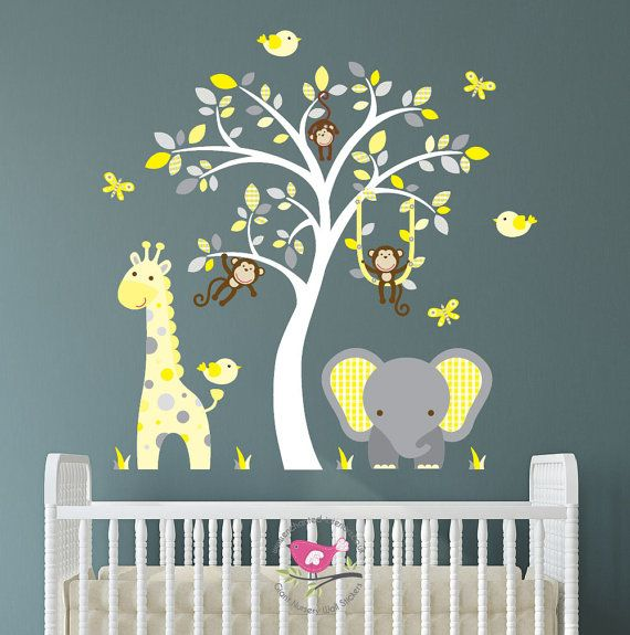 Jungle decal yellow and grey nursery decor feat cheeky monkey  giraffe baby elephant white tree mural gender neutral wall stickers also rh uk pinterest