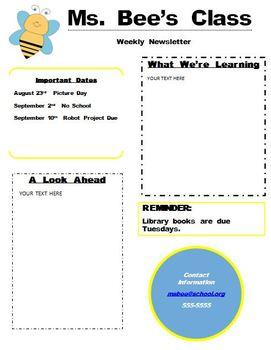 Bee Newsletter Template Editable Word Document Newsletter