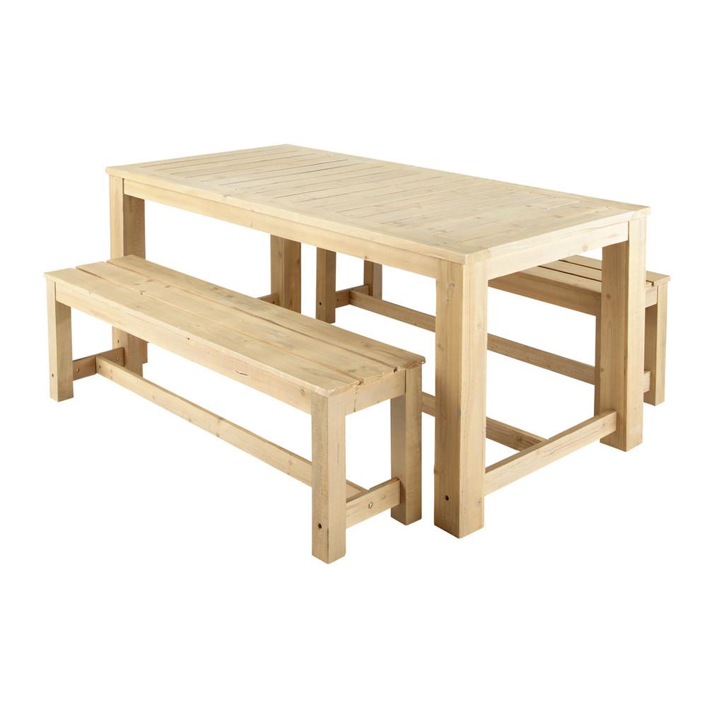 Tavolo bianco + 2 panche da giardino in legno L 180 cm ...