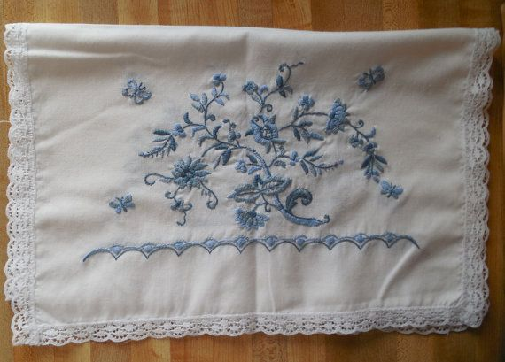 Linen Dresser Scarf Runner Piano Embroidered Flowers Lace Edging Blue Table