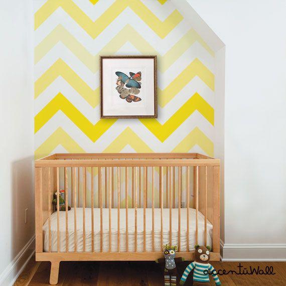 Chevron Yellow Peel Stick Fabric Wallpaper Repositionable Etsy Chevron Wallpaper Chevron Print Decor Bedroom Decor Design