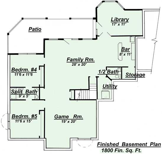 ranch style open floor plans with basement areas colored in green
