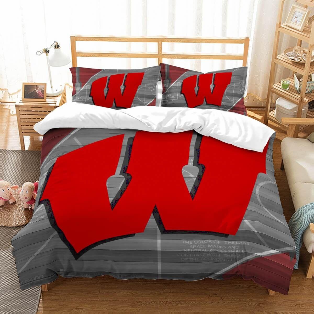 Customize Wisconsin Badgers Bedding Set Duvet Cover Bedroom Bedlinen