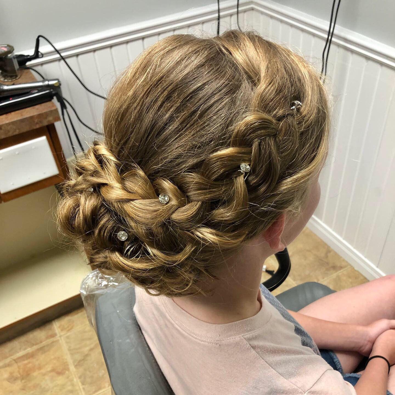 Gorgeous Updo With Braid Junior Bridesmaid Hair Bridesmaid Hair Bridesmaid Hair Braid