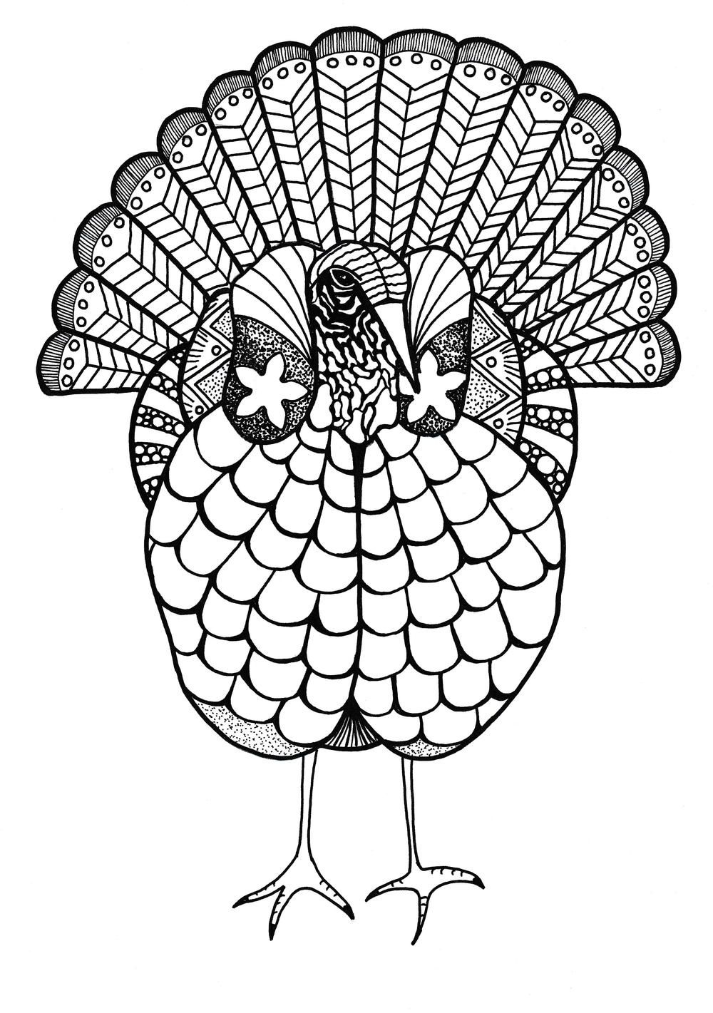 Colorful Turkey Adult Coloring Page Adult Coloring Pages Turkey