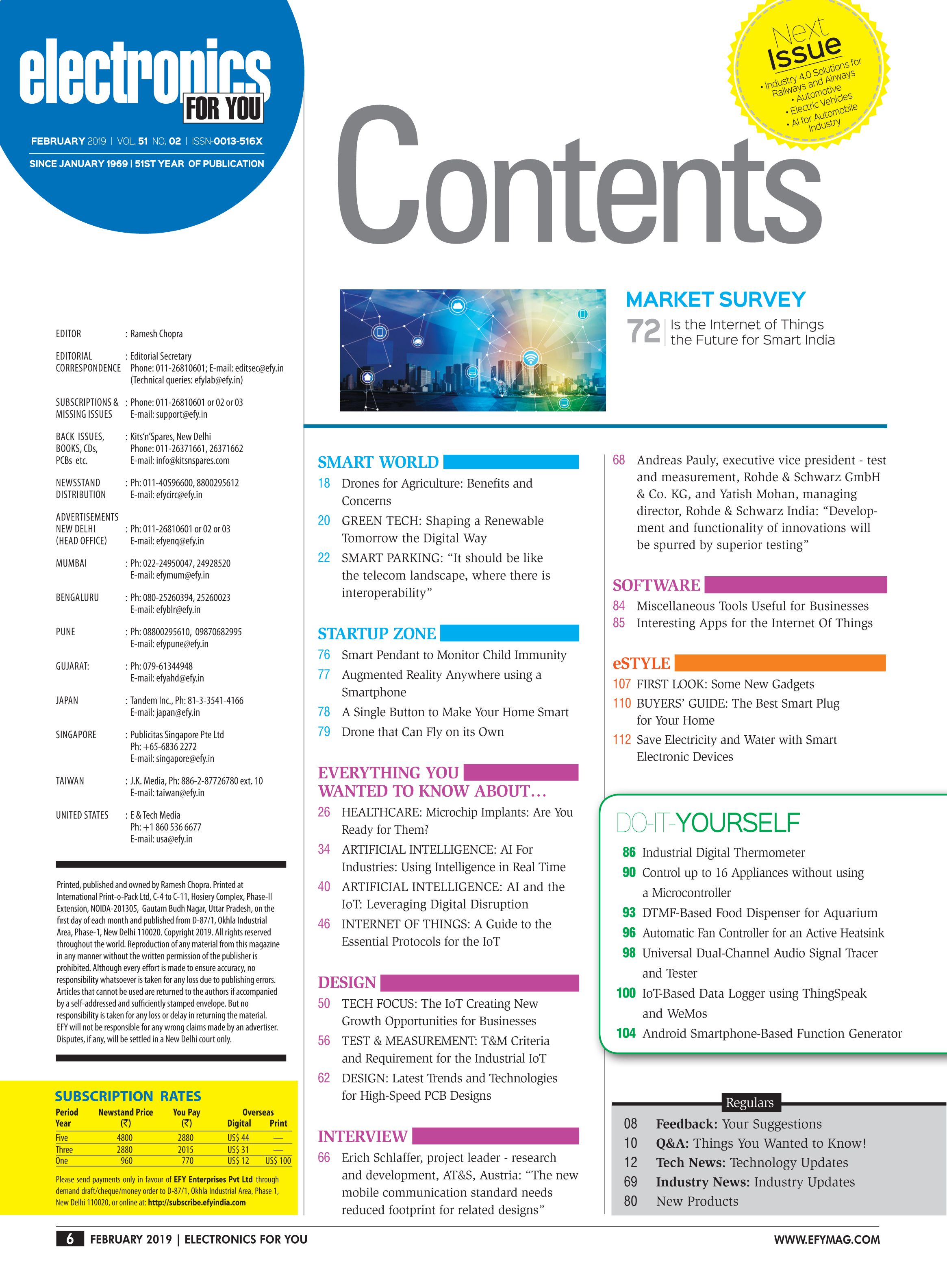 EFY February 2019 Content Page | Electronics for you