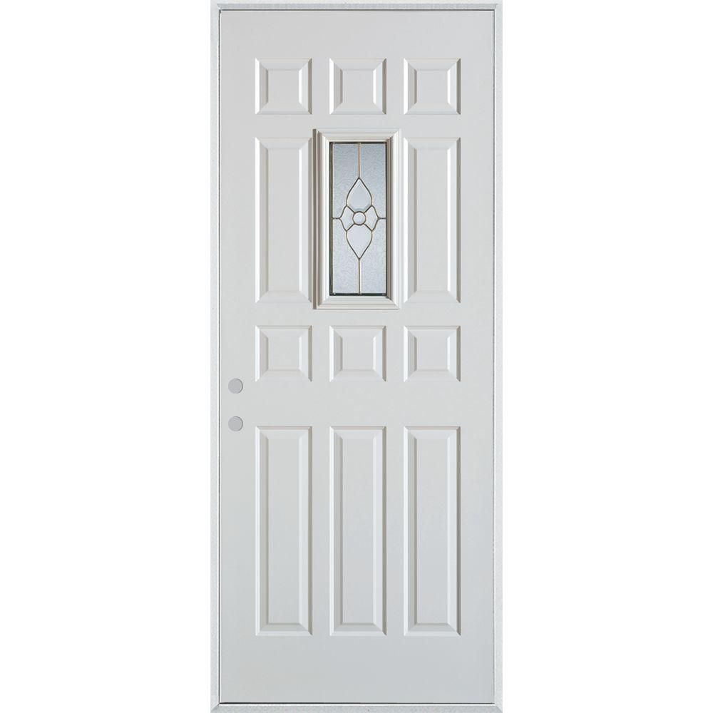 Stanley Doors 32 In X 80 In Traditional Brass Rectangular Lite 12 Panel Painted Right Hand Inswing Steel Prehung Front Door 1103t T12 32 R Decorative Hinges Simple Geometric Pattern Doors