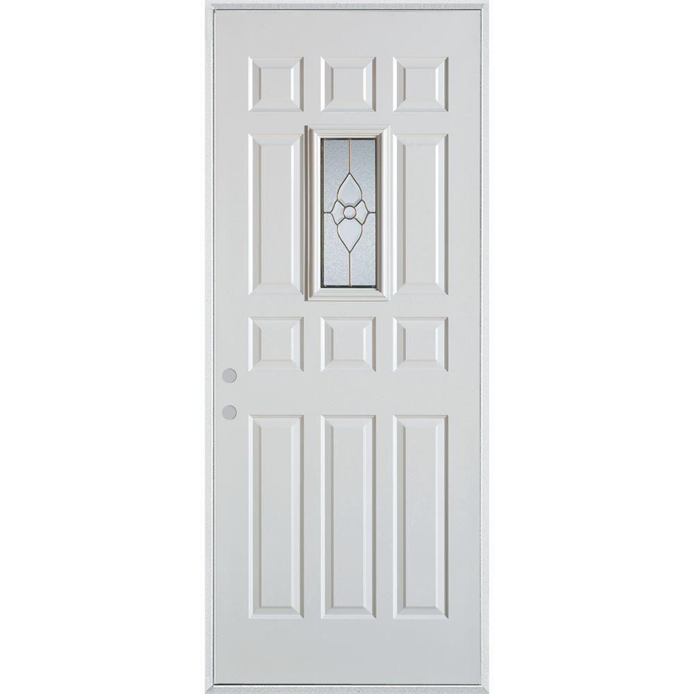 Stanley Doors 32 In X 80 In Traditional Brass Rectangular Lite 12 Panel Painted Right Hand Inswing Steel Prehung Front Door 1103t T12 32 R Decorative Hinges Simple Geometric Pattern Doors