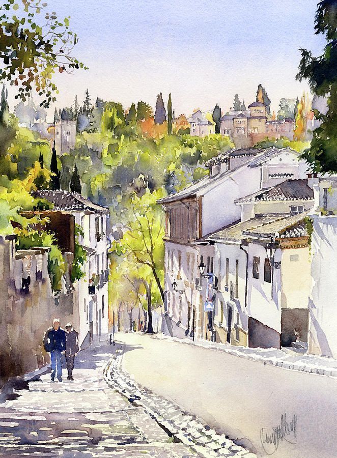 Cuesta Chapiz Granada By Margaret Merry Paysage Perspective
