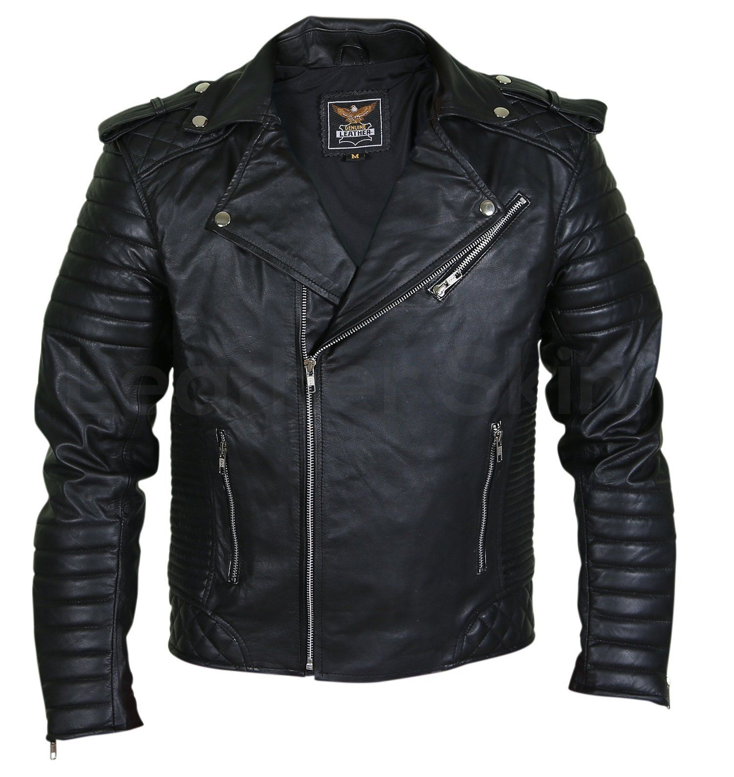 15191a9470 Men Black Brando Motorcycle Leather Jacket with shoulder epaulets and padded  sleeves