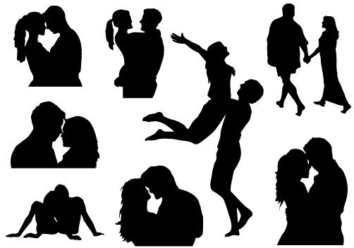 Valentines Couple Vector Graphics Silhouette Clip Art Pinterest
