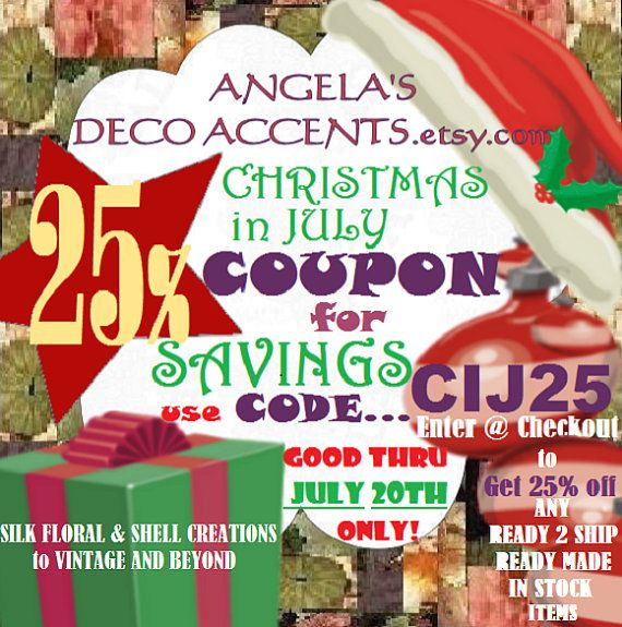 CIJ 25 Savings Discount Coupon Code CIJ25 by AngelasDecoAccents, $0.20