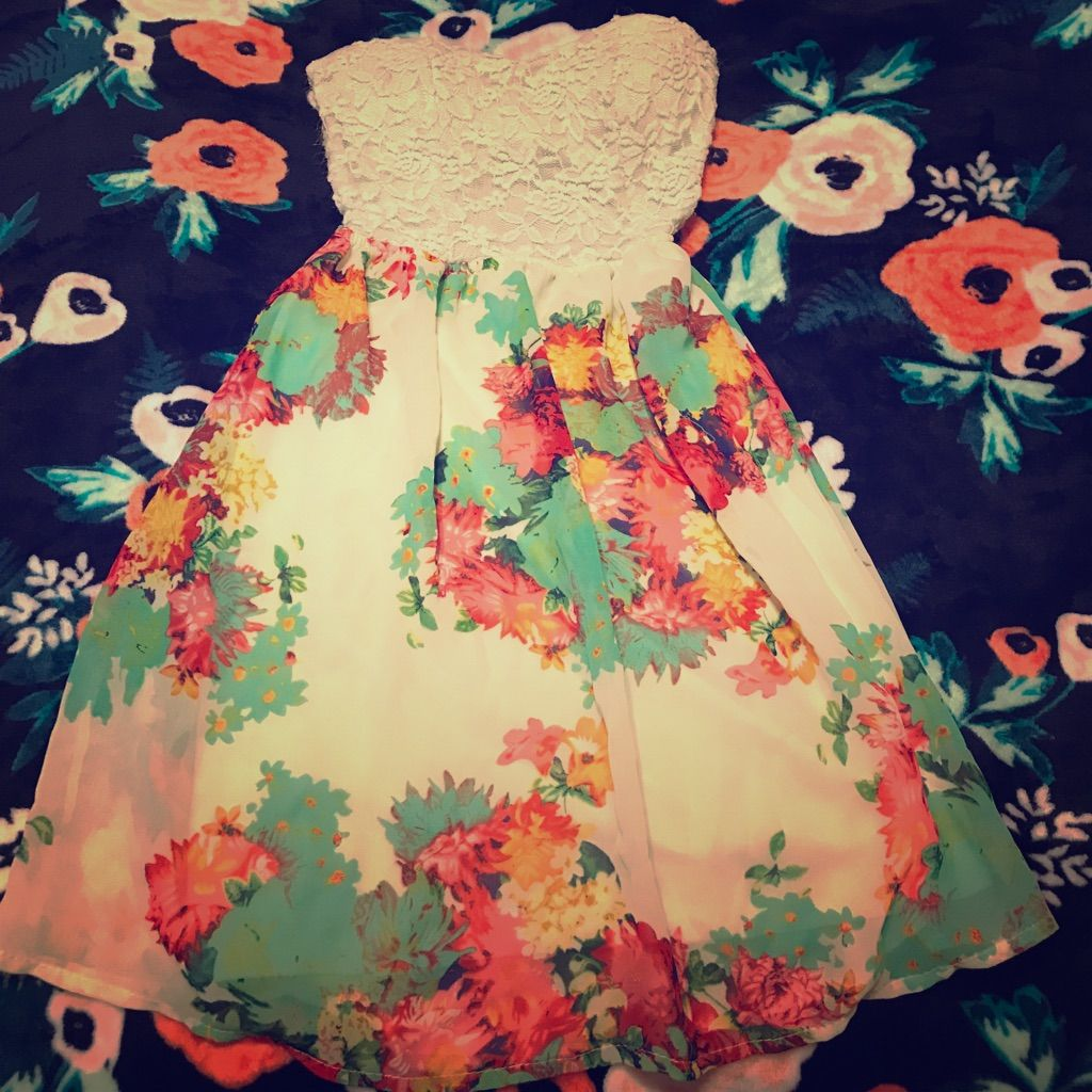 Floral And Lace Strapless Dress