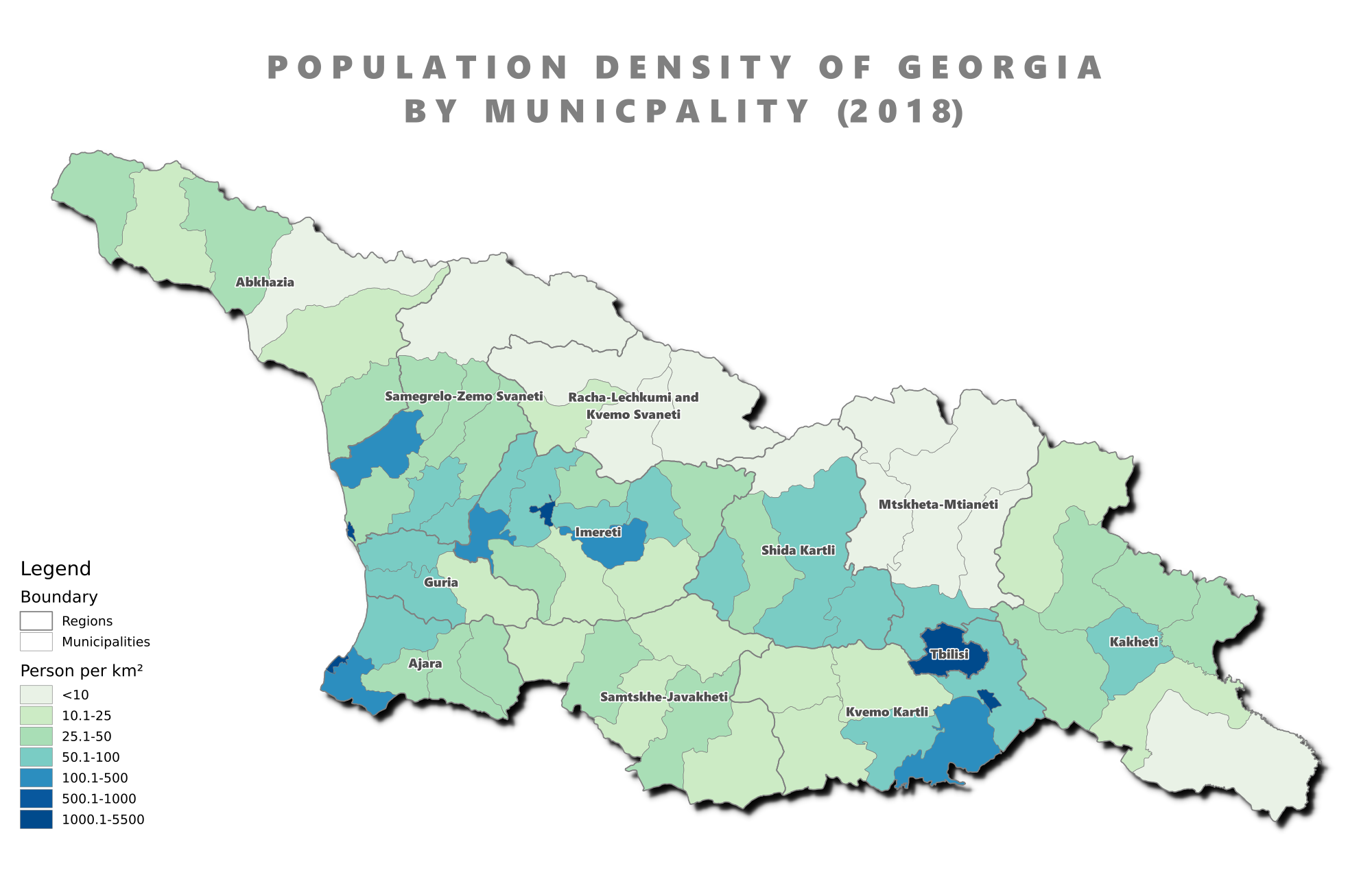 Population Density Of Georgia By Municipality 2018