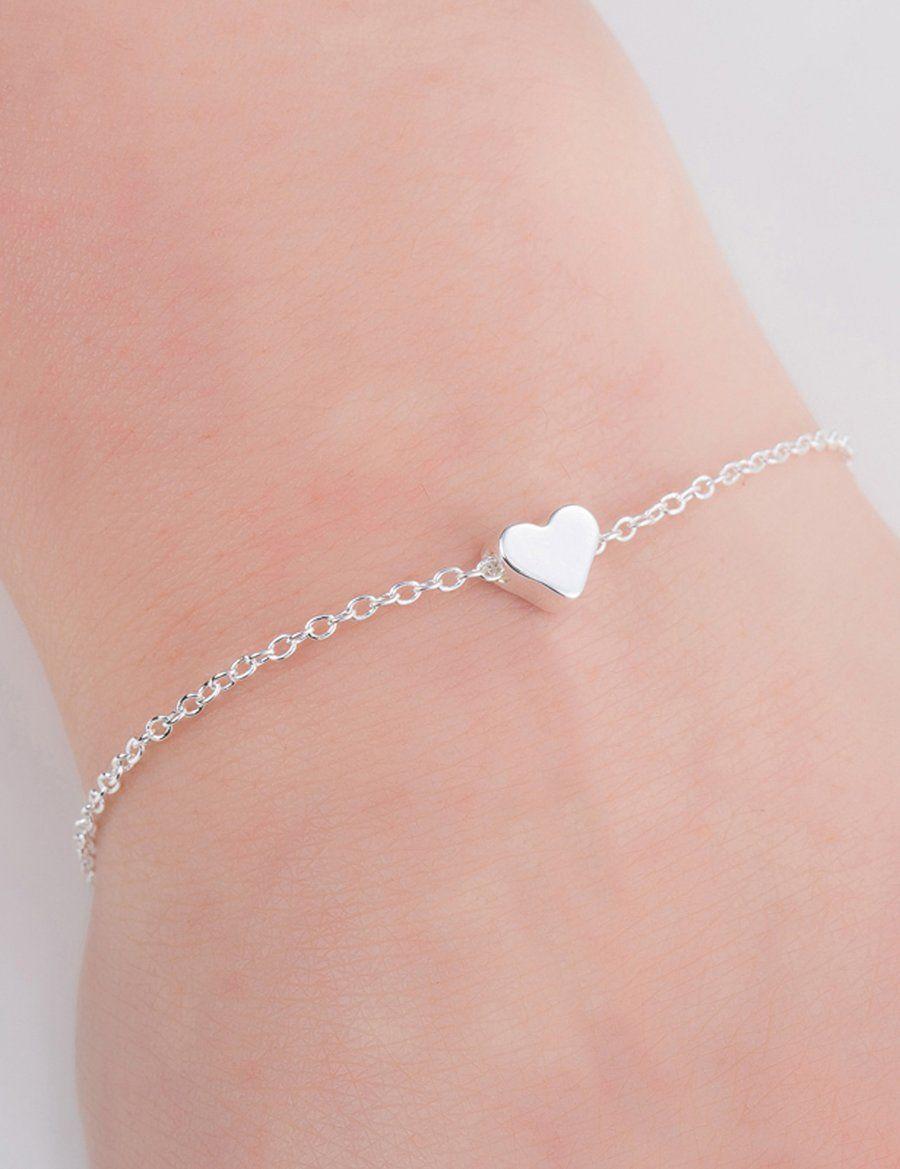 Amore dainty simple heart chain bracelet in pretty