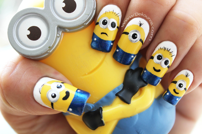 Decoracin De Uas Minions Minions Nail Art Tutorial Manos