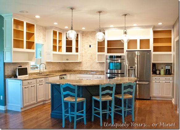 Kitchen cabinets painted and raised to ceiling | Kitchen ...