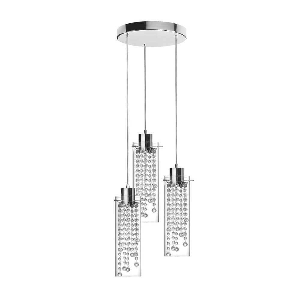 Dainolite 90623-12R-PC Cynthia 3 Light Round Crystal Pendant