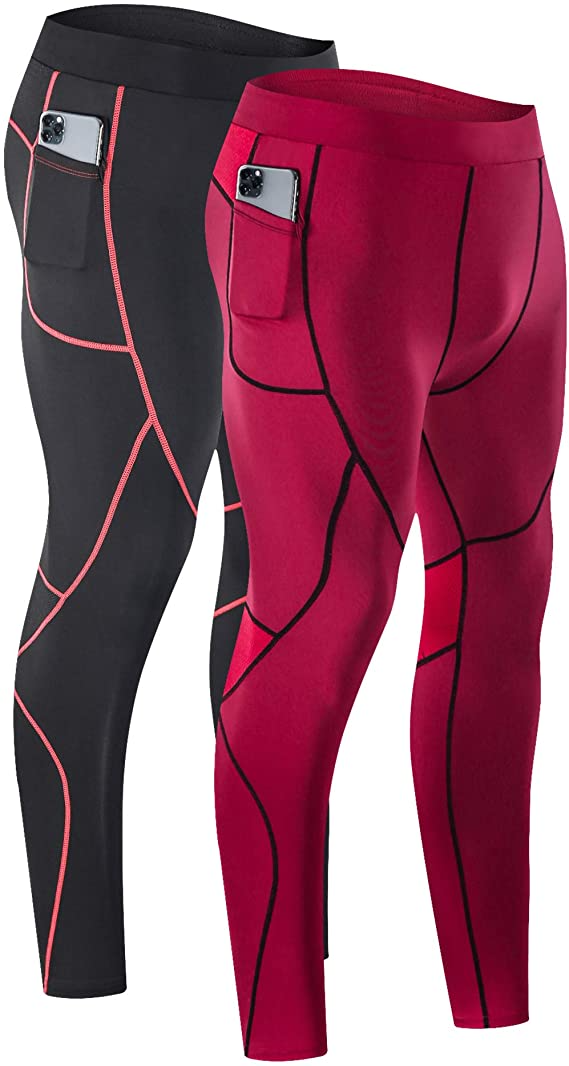 Milin Naco Mens Compression Pants Pack of 1 Cool Dry Baselayer Running Sports Tights with Pocket 2 or 3