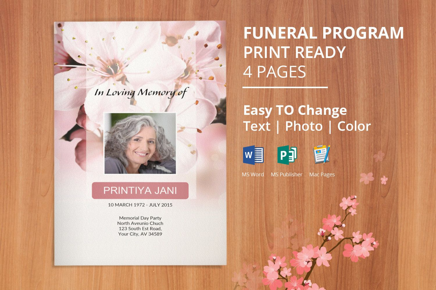 Funeral Program Template Memorial Obituary Template Editable With