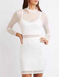 WHITEMesh Overlay Bodycon Dress