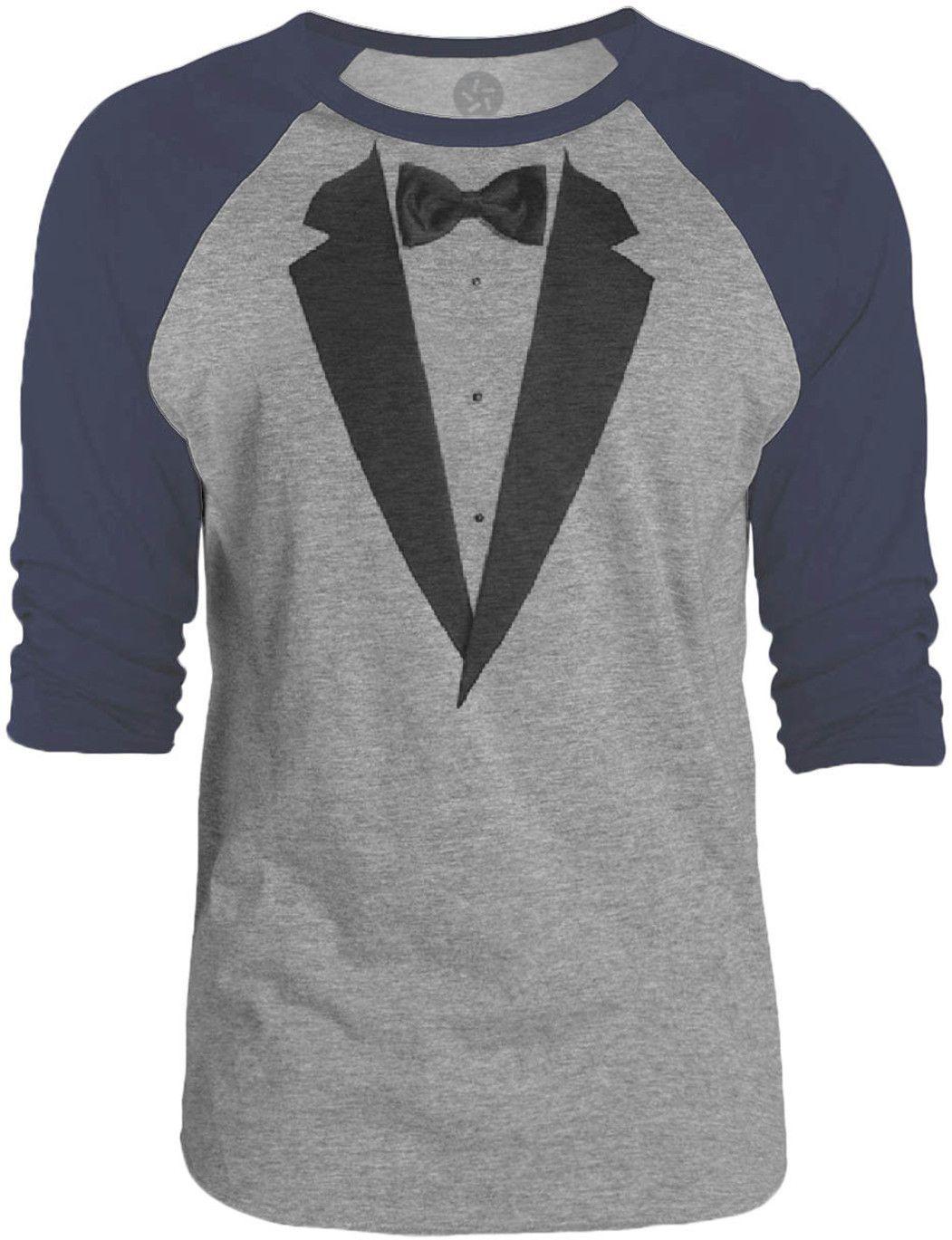 Big Texas Realistic Tuxedo (Black) 3/4-Sleeve Raglan Baseball T-Shirt