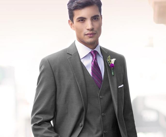 Grooms men attire: charcoal suit, pinstripe shirt, vest and purple ...